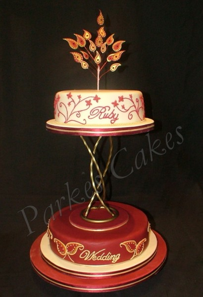 Cake Decorating Ideas For Ruby Wedding : paisley ruby anniversary cake