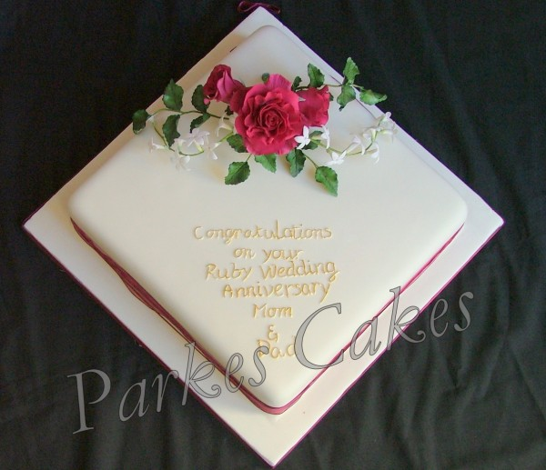 Cake Ideas For Ruby Wedding : Ruby Anniversary Cake