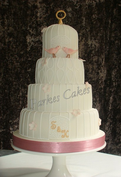 four tier dusky pink vintage birdcage wedding cake