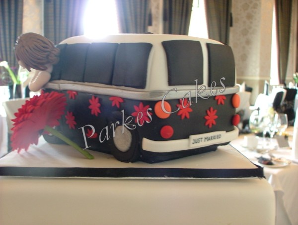 camper van wedding cake back view