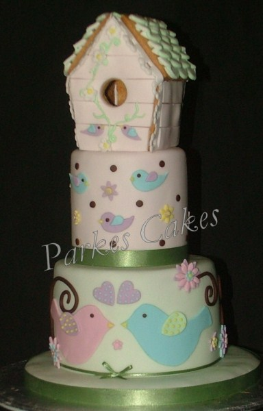 pretty bird box birthday cake