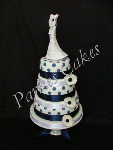 navy polka dot wedding cake