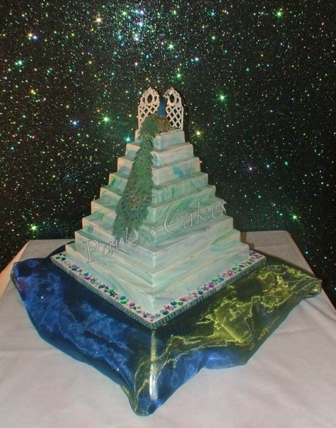 Three Tier Stepped Marbled Peacock Wedding Cake