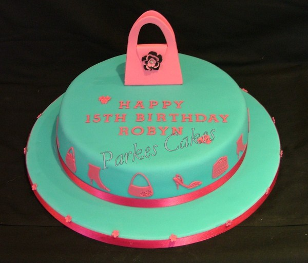 hot pink and turquoise birthday cake