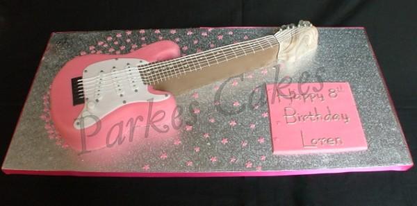 pink guitar cake. Black Bedroom Furniture Sets. Home Design Ideas