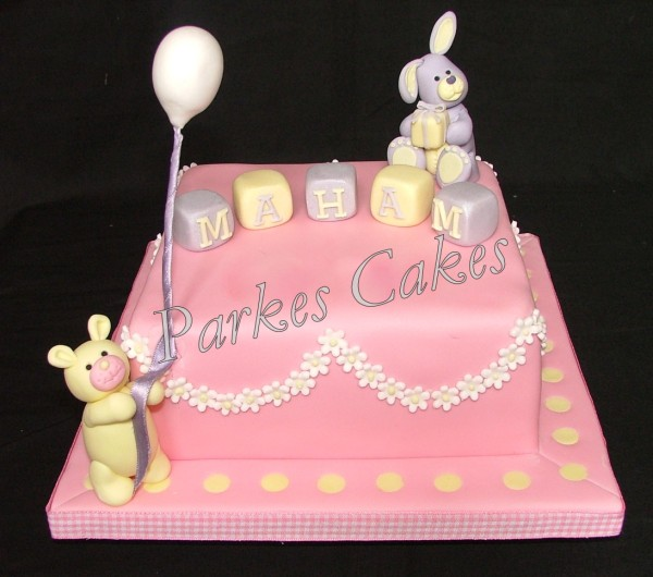 Rabbit And Teddy Birthday Cake