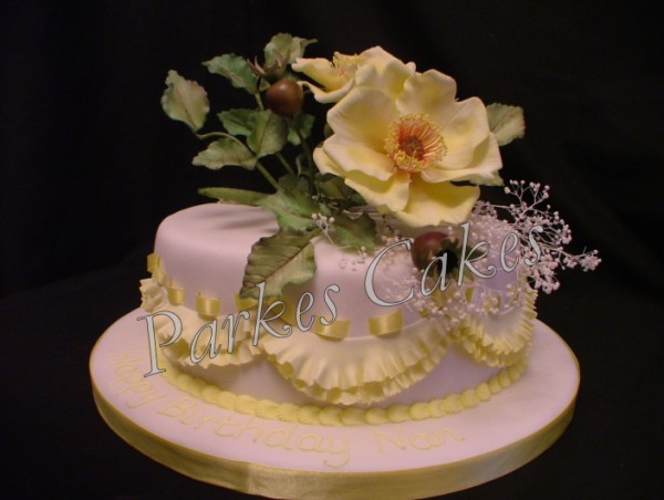 yellow rose birthday cake