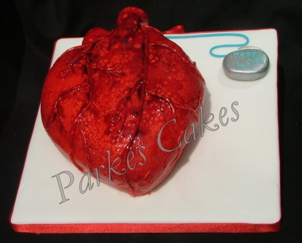 human heart and pacemaker birthday cake
