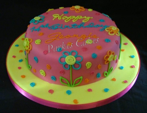 neon flower birthday cake