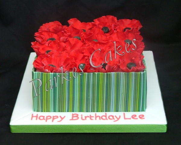 poppy field birthday cake